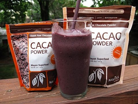 Chocolate covered blueberry protein smoothie